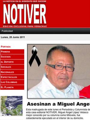 Capa do site \'Notiver\' traz foto do jornalista Miguel Angel Lopez Velasco, morto nesta segunda - Crédito: Foto: AP