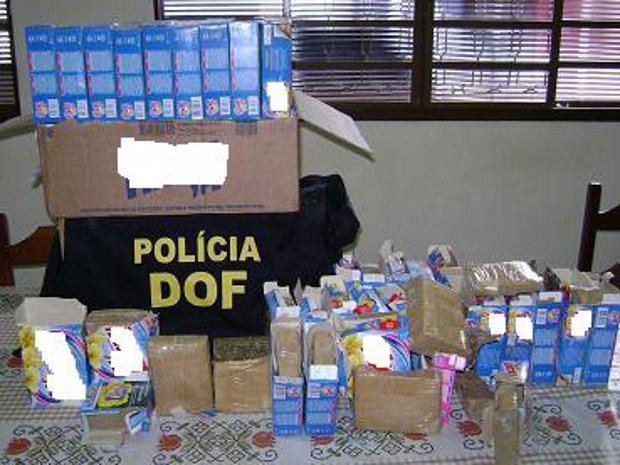 Caixas de sabão em pó estavam recheadas de maconha - Crédito: Foto: Divulgação/DOF