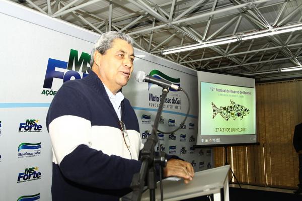 André durante lançamento da 12ª edição do Festival de Inverno de Bonito - Crédito: Foto : Edemir Rodrigues