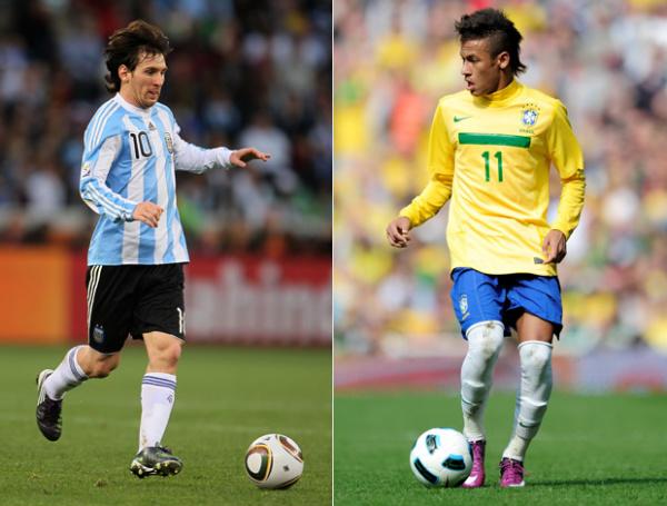 Messi busca título com seleção argentina principal. Neymar: referência do Brasil - Crédito: Foto: Getty Images