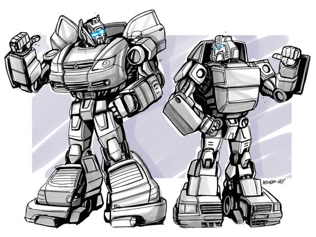 Paródia criada por Marcelo Matere a pedido do G1 transforma os carros populares Gol e Uno Mille em robôs - Crédito: Foto: Marcelo Matere/Arquivo pessoal