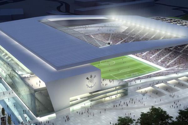 Projeção noturna da maquete do novo estádio do Corinthians - Crédito: Fotos: Divulgação / Corinthians