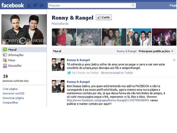 Rangel postou recado na página oficial da dupla sertaneja no Facebook - Crédito: Reprodução
