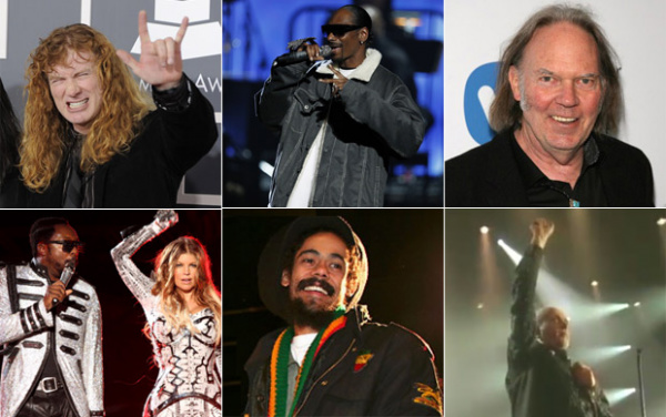 Megadeth, Snoop Dogg, Neil Young, Black Eyed Peas, Damian Marley e Peter Gabriel tocarão no SWU - Crédito: Foto: G1, AP, Divulgação