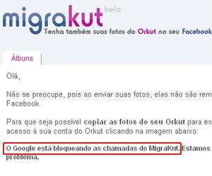 Aplicativo Migrakut foi bloqueado pelo Google. Segundo a empresa, ferramentas automáticas não são permitidas - Crédito: Foto: Reprodução