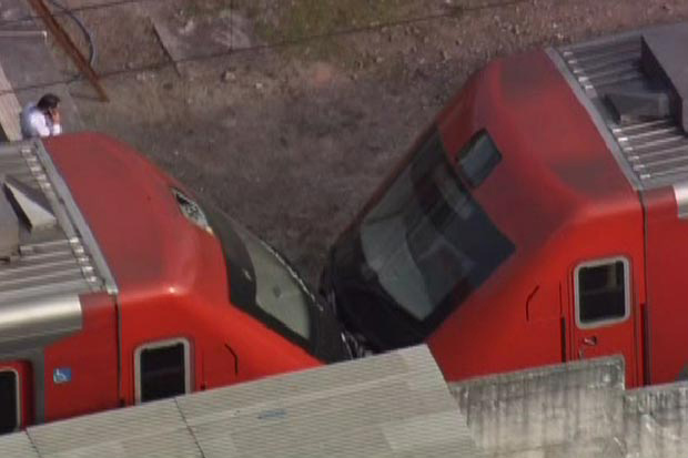 Segundo a CPTM, composição bateu em outro trem que esperava sinalização - Crédito: Foto: Reprodução/TV Globo