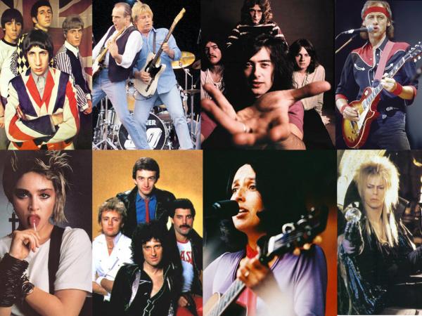The Who, Status Quo, Led Zeppelin, Dire Straits, Madonna, Queen, Joan Baez, David Bowie - Crédito: Foto: Reprodução