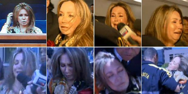 Montagem de fotos mostra Deborah Guerner ainda no tribunal, o momento em que deixou o local e, em seguida, o desmaio - Crédito: Foto: Reprodução / TV Globo