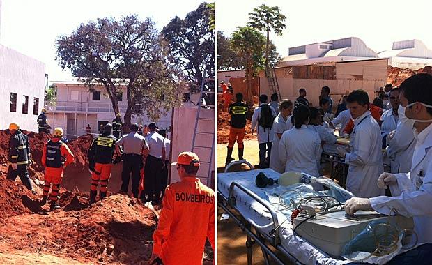 Bombeiros trabalham na busca de operários soterrados em obra do HUB - Crédito: Foto: Mariana Zoccoli/G1