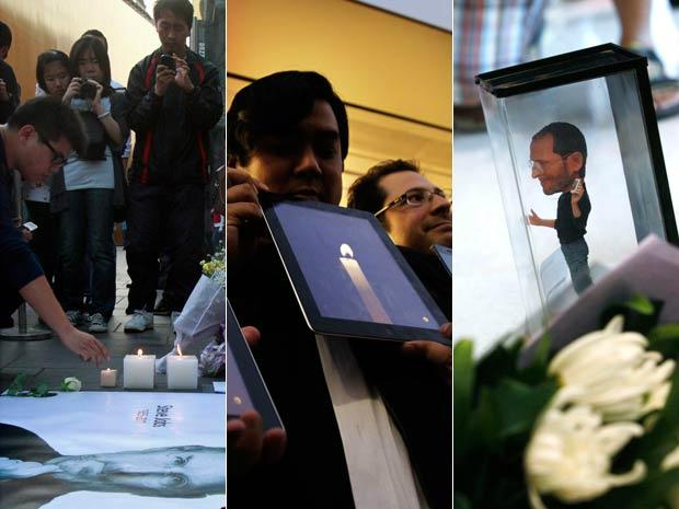 Consumidores fazem homenagens para Stevie Jobs em Hong Kong, no Japão e nos EUA - Crédito: Foto: AP