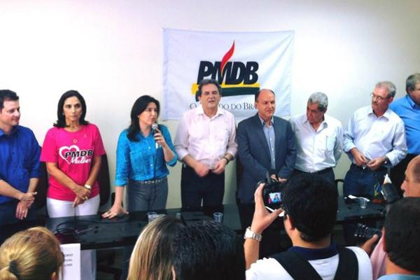 Principais lideranças do PMDB de Mato Grosso do Sul durante recente encontro. - Crédito: Foto: Divulgação