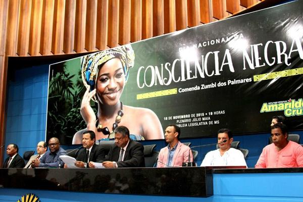 Solenidade alusiva ao Dia Nacional da Consciência Negra, na Assembleia Legislativa, na noite de quarta-feira. - Crédito: Foto: Wagner Guimarães/ALMS