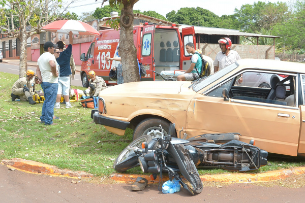 Acidente registrado no dia 19 de setembro na Avenida Presidente Vargas, zona norte de Dourados. -