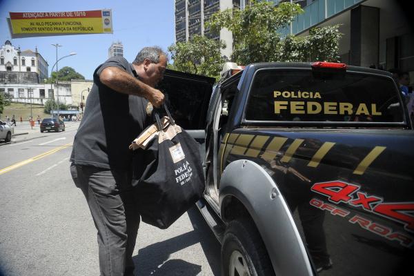 Polícia Federal cumpre mandado de busca no escritório do deputado Eduardo Cunha. - Crédito: Foto: Tânia Rêgo/Agência Brasil