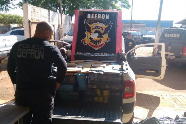 Registro de apreensão de 690 quilos de maconha, feito pela Defron aconteceu em Coronel Sapucaia. - Crédito: Foto: Divulgação/DEFRON