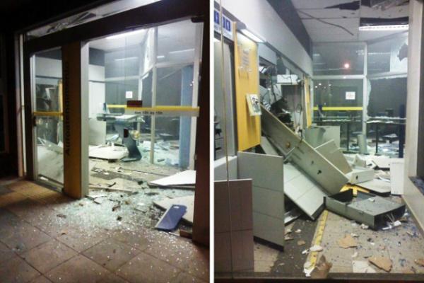 Agência do Banco do Brasil foi a que sofreu danos após explosão. - Crédito: Foto: Jornal da nova