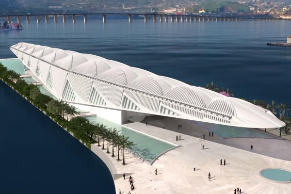 Museu do Amanhã, construído na Praça Mauá, no Rio de Janeiro, é dedicado à ciência e  o público pode ter experiências modernas com instalações interativas, imaginando os próximos 50 anos da humanidade. - Crédito: Foto: Divulgação