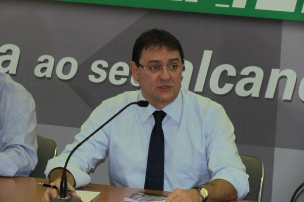 Sérgio Longen, presidente da Fiems, em coletiva na Casa da Indústria, dia 18, em Campo Grande. - Crédito: Foto: Elvio Lopes