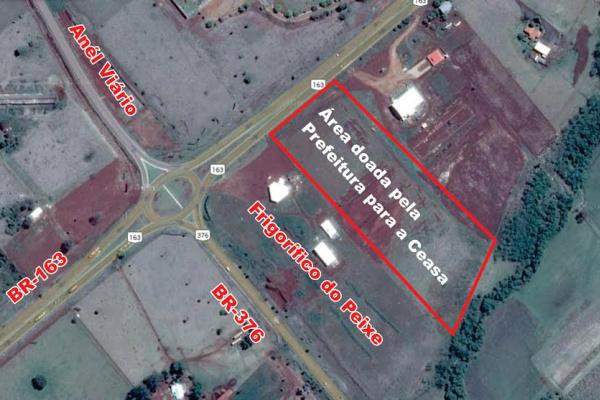 Área que a Prefeitura doou para construir a Ceasa está na BR-163, com acesso fácil para os produtores. - Crédito: Foto: Reprodução