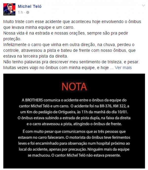 Michel Teló fala de acidente na internet -