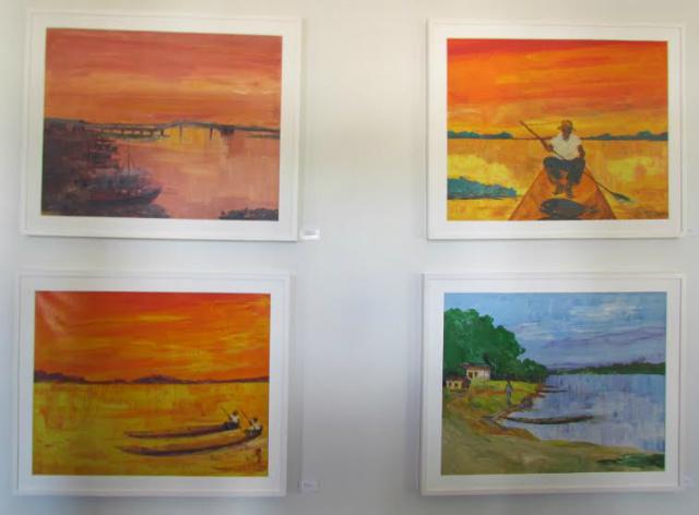 Quatro da obras do renomado artista plástico Jorapimo retratando o Pantanal, em exposição permanente na Morada dos Baís em Campo Grande. - Crédito: Foto: Elvio Lopes