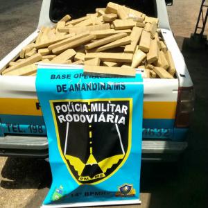 Droga foi interceptada na região de Amandina, pela PMRv. - Crédito: Foto: Divulgação/PMRv