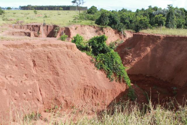 Era para ser um projeto de proteção de área ambiental no Assentamento Pana com plantio de árvores nativas, que acabou se transformando numa gigantesta  erosão que prejudica os assentados. - Crédito: Foto: Marcos Santos