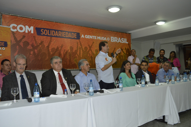 Lideranças políticas durante o encontro do Partido Solidariedade em Campo Grande. - Crédito: Foto: Divulgação