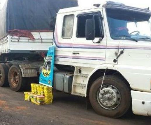 Carreta levava, escondidos debaixo de um dos bancos, 94 quilos de cocaína; condutor assumiu a droga. - Crédito: Foto: Divulgação/PMRV