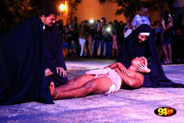 Encenação da Paixão de Cristo é baseado nos Evangelhos com os atores percorrendo os principais momentos da vida de Jesus de Nazaré. - Crédito: Foto: Divulgação