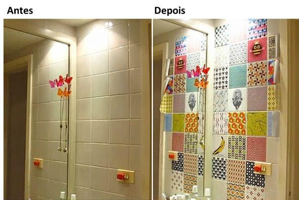 Vejam o antes e o depois da colocação do adesivo vinilico na parede Foto: Divulgação -