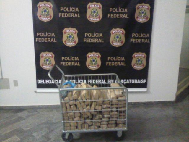 Parte da droga apreendida pela Polícia Federal em Araçatuba. - Crédito: Foto: Divulgação/PF