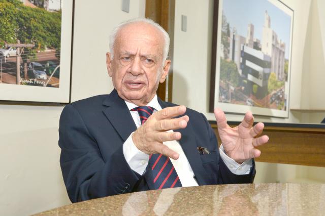 Ex-senador Pedro Simon concedeu entrevista exclusiva para o Jornal O PROGRESSO. - Crédito: Foto: Marcos Ribeiro