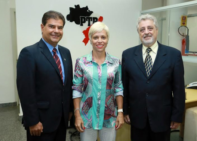 Ex-prefeito Nelsinho Trad, deputada Cristiane Brasil e ex-deputado Paulo Estevão. - Crédito: Foto: Divulgação