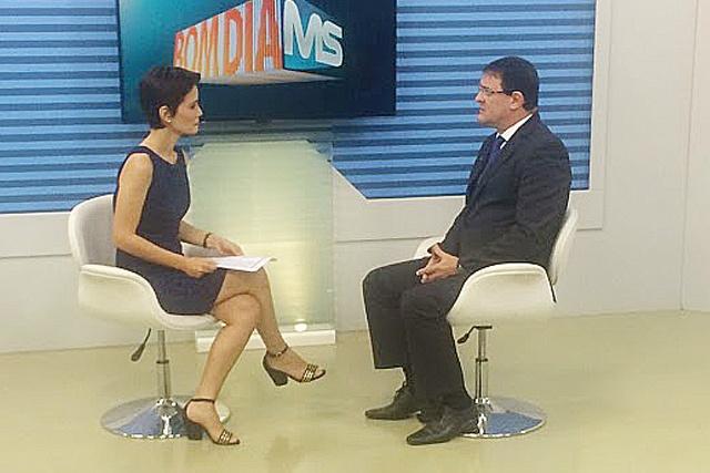 Longen durante entrevista concedida ontem na TV Morena. - Crédito: Foto: Divulgação/FIEMS