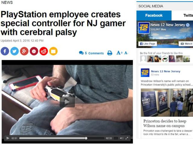 Jovem de Nova Jersey com paralisia cerebral ganhou controle personalizado para PS4 de funcionário da Sony. - Crédito: Foto: Reprodução/News 12 New Jersey