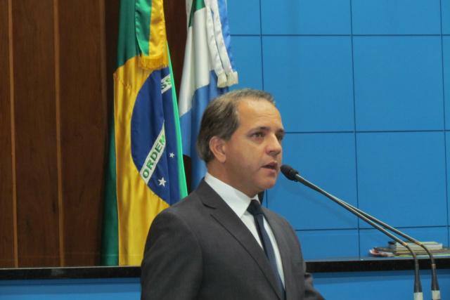 Coronel David discursa durante posse como o mais novo deputado estadual do MS. - Crédito: Foto: Elvio Lopes