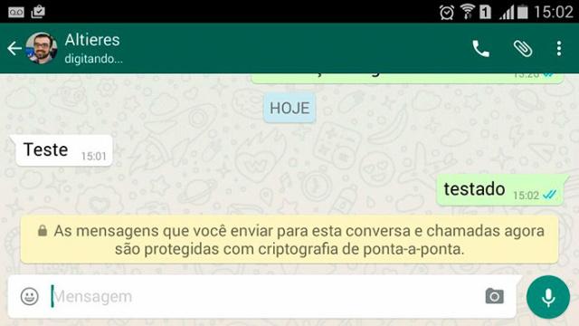 WhatsApp começa a identificar conversas com criptografia. - Crédito: Foto: Divulgação
