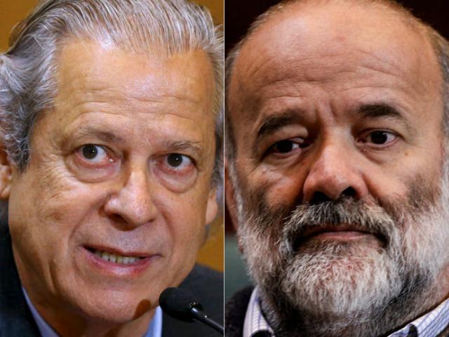 Ex-ministro José Dirceu e o ex-tesoureiro do PT, João Vaccari Neto. - Crédito: Foto: Reprodução