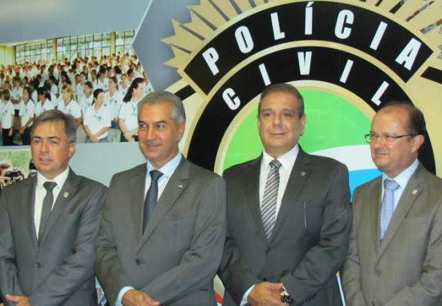 Carlos Videira,  governador Reinaldo Azambuja, Marcelo Vargas, e José Carlos Barbosa. - Crédito: Foto: Elvio Lopes