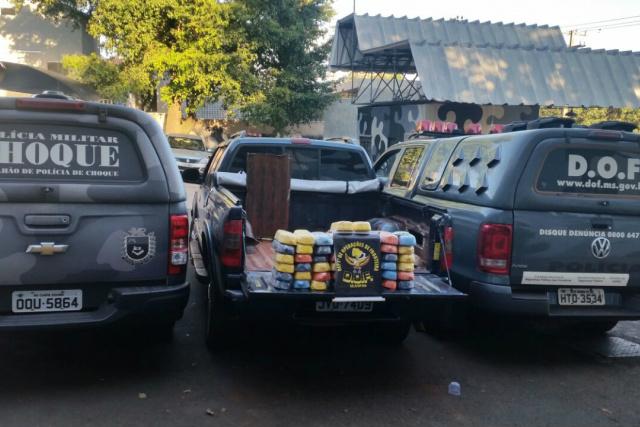 Casal disse ter pego a camioneta preparada com a droga acondicionada em fundo falso na carroceria. - Crédito: Foto: Divulgação/DOF