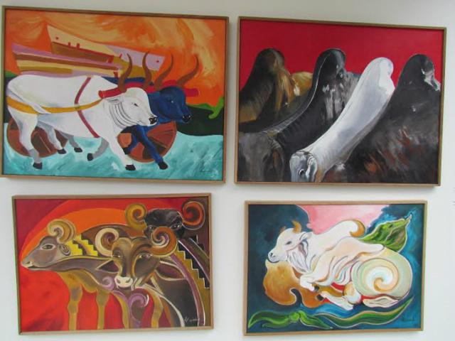 """Da esquerda para a direita, as telas """"Carro-de-boi"""", da série """"Cupins"""", """"Búfalos Kadiwéu"""" e da série """"Pavilhão"""" do artista plástico Humberto Espíndola. - Crédito: Foto: Elvio Lopes"""