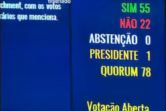 Placar eletrônico do Senado mostra resultado da votação da admissibilidade do processo de impeachment no plenário do SenadoTV Senado -