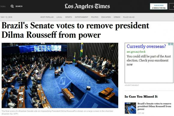 O Los Angeles Times destacou em seu site a aprovação do impeachment de Dilma no Senado Federal. - Crédito: Foto: Divulgação/Los Angeles Times