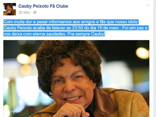 Fã-clube oficial de Cauby lamentou sua morte em sua página no Facebook - Crédito: Foto: Reprodução/ Facebook