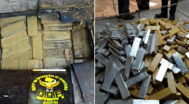 DOF apreende 520 Kg de maconha na MS-379 e prende caminhoneiro por tráfico de drogas. - Crédito: Foto: Divulgação