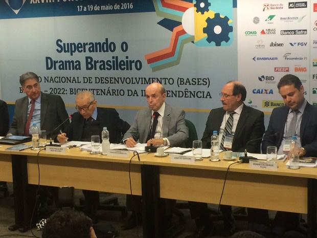 Dornelles durante Fórum Nacional no BNDES. - Crédito: Foto: Nicolás Satriano/G1