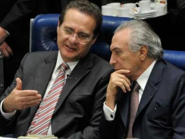 Renan Calheiros, presidente do Senado, e o presidente interino Michel Temer -