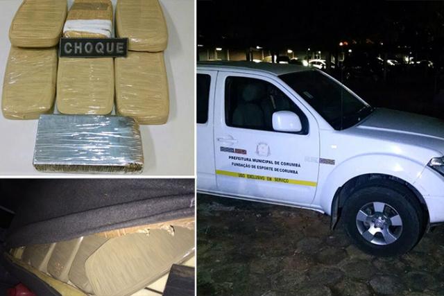 Droga estava escondida em compartimento da camionete conduzida pelo funcionário público. - Crédito: Foto: Divulgação/Choque