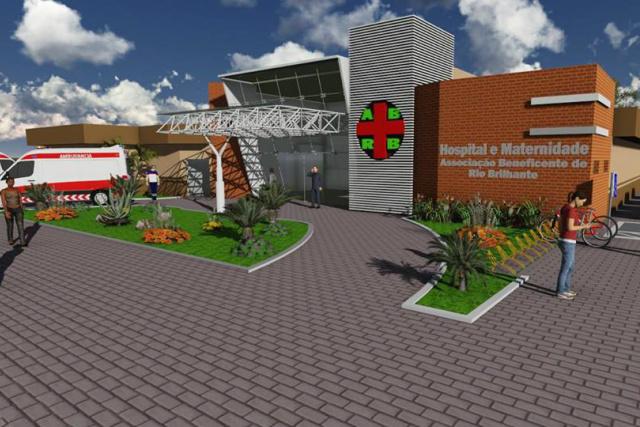 Fachada do novo Hospital do mnuicípio de Rio Brilhante que será construído com recursos de R$ 1 milhão do orçamento da União. - Crédito: Foto: Assessoria